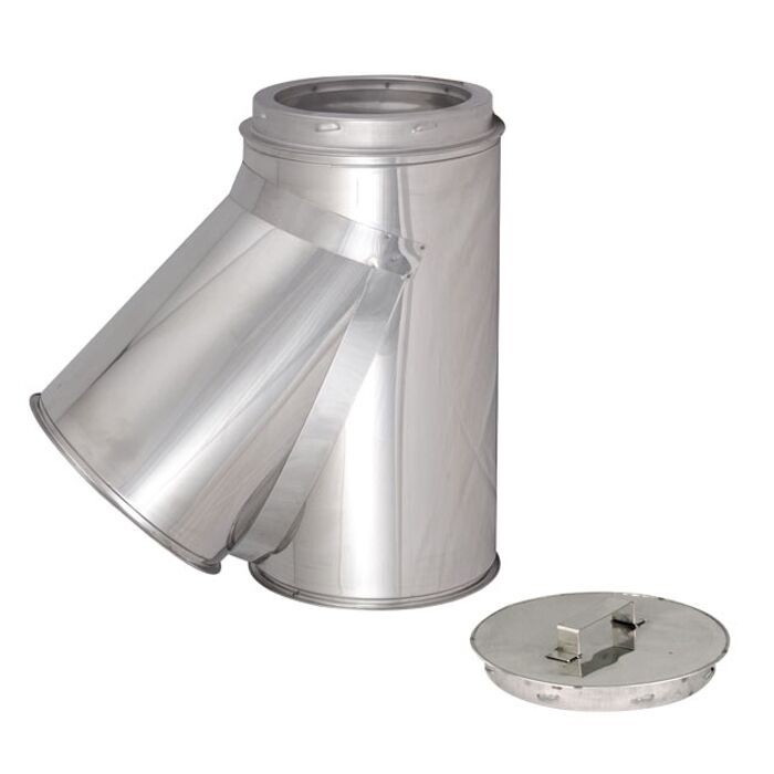 "6"" (150mm) 135 Degree Tee And Cap Twinwall Insulated Flue Pipe"